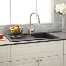 Double Kitchen Sinks With Drainboards by Black Kitchen Sink Signature Hardware