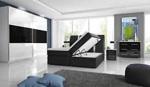 details zu komplett hochglanz schlafzimmer boxspringbett mit zwei bettkästen weiß schwarz