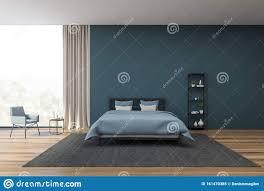 dekoration mit blauen schlafzimmern und sessel stock