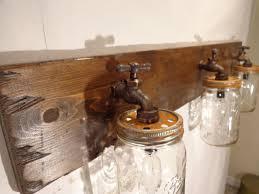 Mason Jar Vanity Light Fixture Country Primitive Rustic Wood Vintage Style Barn