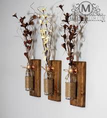 Shop Makarios Rustic Wall Sconces Reclaimed Wood Flower Vases
