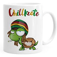 moonworks kaffee tasse chillkröte schildkröte rastafrisur joint comic stil kaffeetasse tasse weiß keramik tasse