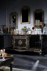 casa padrino luxus barock wohnzimmer set blau gold schwarz sideboard und 3 spiegel barockmöbel barockgroßhandel de