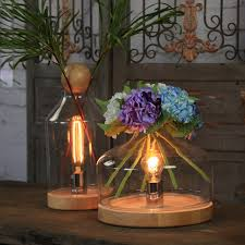 Multifunction Retro Rustic Wood Desk Lighting Shade Edison Loft Glass Table Lamp Flower Vase Lamps
