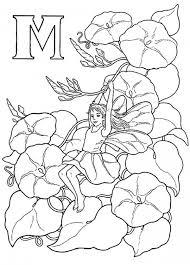 Alphabet Elf Letter M Coloring Pages An Girl Sliding On Flower