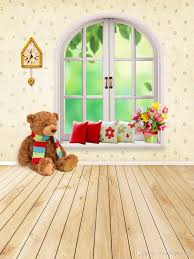 2018 Interior Room Backgrounds For Photo Studio Window Pillows Brown Toy Bear Baby Shower Backdrops Kids Children Wood Floor Photography Backdrop From