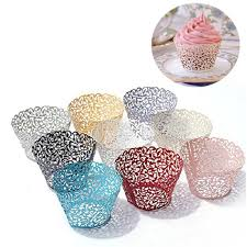 50PCS Pink Vine Lace Cup Cake Box White Cut Paper Wedding Cupcake Liner Baking Wrappers Birthday Party Favor Decorations Color Gold