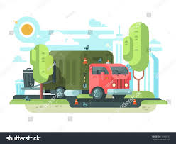 Garbage Truck Collects Garbage Park Vehicle Stock Vector (2018 ...