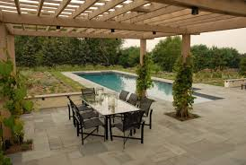 Bluestone Dining Room by Decorating Pool House Designs And Outdoor Dining With Glass