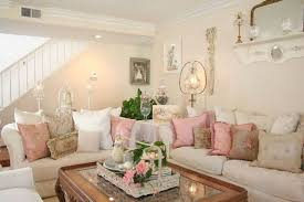 Shabby Chic Family Room With Sectional Sofa And Cushions