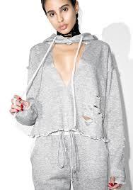 gray distressed hooded sweater dolls kill