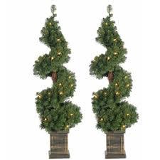 3 Ft Pre Lit Potted Spiral Trees Set Of 2
