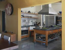 Industrial Farmhouse Decor Kitchen With Hardware Open Shelving Concrete Floor