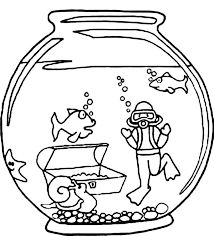 Fish And Diver In Bowl Coloring Page