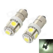 ba9s 1 2w 70 lumen 6500k 5 smd led car white light bulbs pair dc