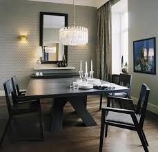 Black Wooden Furniture Sets With Crystal Chandelier Idea For Contemporary Dining Room Look