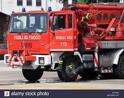 100 Red Fire Trucks Italian Fire Trucks With Huge Crane Stock Photo
