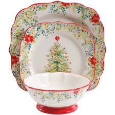 Christmas Bathroom Sets At Walmart by The Pioneer Woman Holiday Cheer 12 Piece Dinnerware Set Walmart Com