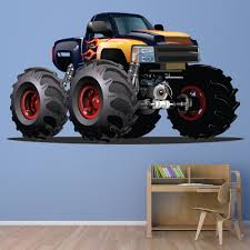 100 Monster Truck Bedroom Black Yellow Wall Sticker Vehicle Wall Decal Boys
