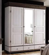 massivholz kleiderschrank 3türig spiegel weiß antik schlafzimmerschrank kiefer