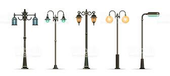 Traditional And Modern Outdoor Lamp Posts Vector Icon Set Stock