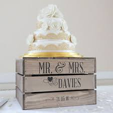 Personalised Rustic Wedding Cake Stand Vintage Wooden