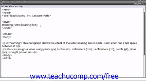 HTML5 and CSS3 Tutorial Letter Spacing Kerning Training Lesson