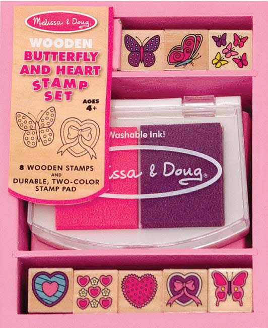 Melissa & Doug Wooden Butterfly and Hearts Stamp Set