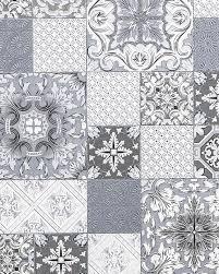 küchen bad tapete edem 87001br10 vinyltapete leicht strukturiert mit kachelmuster und metallischen akzenten grau anthrazit weiß silber 5 33 m2
