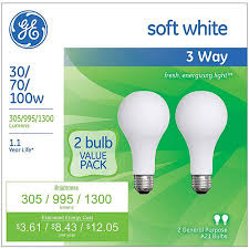 ge soft white 3 way 30 70 100 watt incandescent a21 2 pack