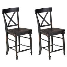 Imagio Home Roanoke X-Back Counter Height Dining Chairs, Set Of 2, Rubbed  Black