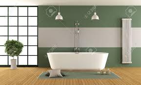 zeitgenössisches grünes und graues badezimmer mit badewanne dusche und fenster wiedergabe 3d