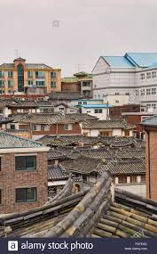 100 South Korean Houses Typical In Seoul City Korea Stock