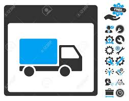 Shipment Truck Calendar Page Icon With Bonus Setup Tools Pictograph ...