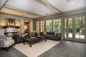 Traditional Living Room With Slate Tile Floors High Ceiling In On Amazing Of Black Floor Tiles