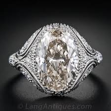 444 Carat Oval Diamond Vintage Style Engagement Ring