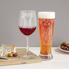 Personalized Tree Trunk Glassware Duo Etched Custom Pint