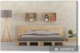 leinwandbild modernes schlafzimmer mit paletten bett auf mauer