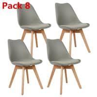 8er set design esszimmerstuhl kunstleder hellgrau polstersessel loungesessel stuhl küche esszimmer