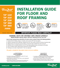 Tji Floor Joist Span by Installation Guide For Floor And Roof Framing
