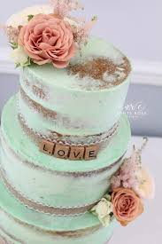 I Was Able To Use Some Of The Spare Flowers Decorate Cake Wedding Finished In A Semi Naked Style With Mint Green Buttercream