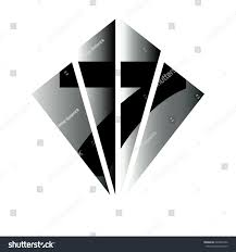 100 Art Deco Shape Number Seven Black Inside Diamond Stock Vector Royalty Free