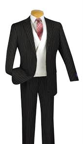 classic fit 3 pcs men u0027s suits with vest 2 buttons banker stripe black