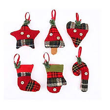 Stock Show Christmas Tree Ornaments Stocking Decorations 6Pcs Set Plaid Stockings Candy Cane Star