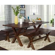Simple Living 3 Piece Mandeville Live Edge Solid Wood Dining And Bench Set