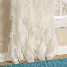 Ruffle Blackout Curtain Panels by Cascade Sheer Voile Ruffled Window Treatment