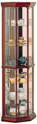 Curved Glass Curio Cabinet by Coaster Curio Cabinets Solid Wood Cherry Glass Corner Curio