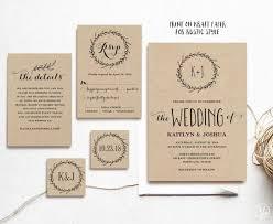 Classic Wreath Printable Wedding Invitation Template Rustic