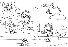 Free Printable Princess Sofia Mermaid Coloring Pages With Bird Animals And Seahorse Ready To Print