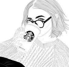 Image Result For Girl With Starbucks Drawing